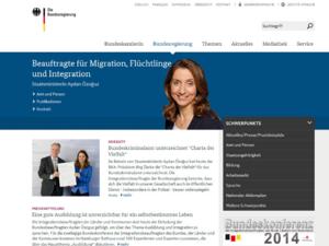 Screenshot der Homepage der Bundesbeauftragten für Migration
