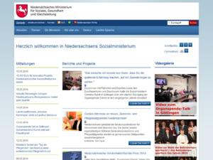 Screenshot des Ministerium für Soziales und Integration