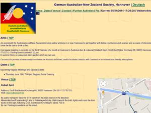 Screenshot der Homepage der Deutsch-Australischen Gesellschaft