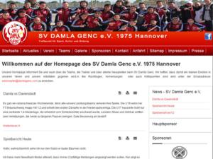Screenshot der Homepage des SV Damla Genc