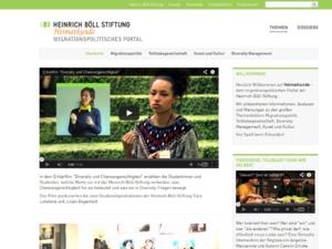 Screenshot der Homepage Migration, Integration und Diversity der Heinrich-Böll-Stiftung