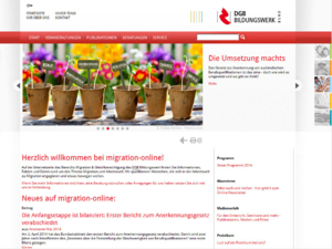 Screenshot der Homepage von Migration Online (21.05.2014)