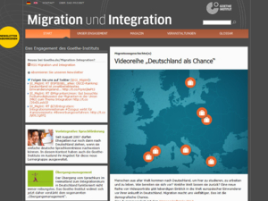 Screenshot der Homepage Migration und Integration des Goethe-Instituts
