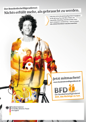 Plakat des Bundesfreiwilligendienstes - Motiv: Junger Mann