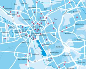 Übersicht über die öffentlichen Toiletten in der Stadt Hannover