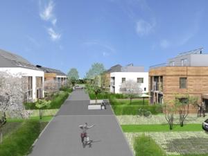 Simulationsansicht einer Nachbarschaftsstraße im zero:e park