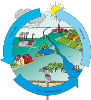 Grafische Darstellung eines Wasserkreislaufs mit Niederschlag, Verdunstung und Grund- und Oberflächenwasser.