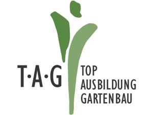 Grafik mit grünen Elementen und der Aufschrift TAG - Top Ausbildung Gartenbau