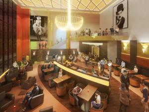 Eine Bar-Lounge im Kino.