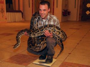 Mann und Schlange auf einer Waage.