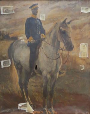 Gemälde eines Offiziers auf einem Pferd.