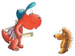 Zeichnung eines kleinen roten Drachens mit Mütze und eines Igels.