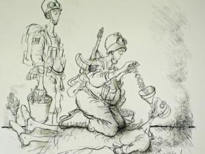 """Die Zeichung zeigt zwei Soldaten, die einem am Boden liegenden Araber per Trichter die Buchstaben """"Demokratie"""" einflößen."""