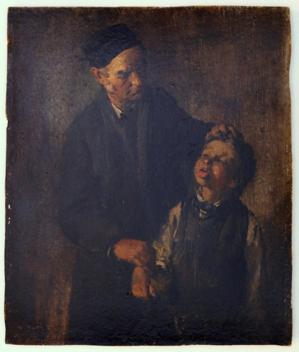 Gemälde einen Mann und einen Jungen zeigend