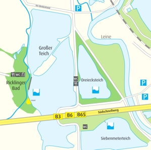 Anfahrtskizze Ricklinger Kiesteiche