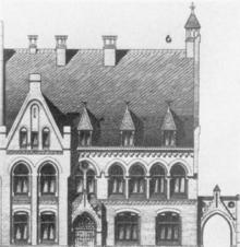Zeichnung des Gebäudes der Israelitischen Schule in der Lützowstr. 3, undatiert. Quelle: Historisches Museum Hannover