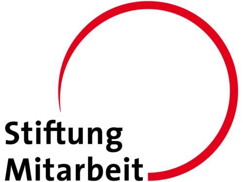 Das Logo der Stiftung Mitarbeit: Der Name und ein roter dreiviertel Kreis.