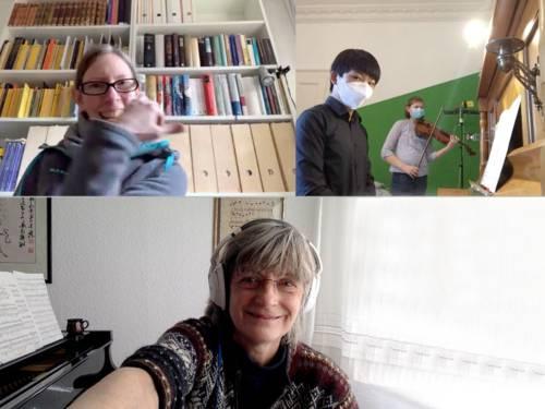 Yannik Wang (Klavier) und Tabea Dödtmann (Viola) sowie Lehrkräfte der Musikschule Birgit Saak, Juliane Strauß-Ovens