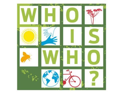 Ausschnitt von der Titelseite der Broschüre who is who 2021 mit Zeichnungen von Pflanze, Sonne, Hände, Biene und dem Schriftzug who is who