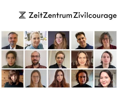 Collage aus Fotos des Teams des ZeitZentrum Zivilcourage, Januar 2021