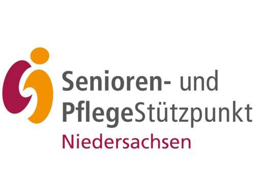 Farbige Flächen bilden Buchstaben S und i, daneben stehen die Worte Senioren- und PflegeStützpunkt Niedersachsen.