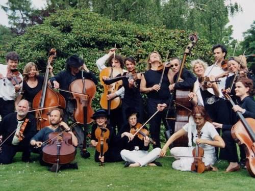 Acht Musikerinnen und acht Musiker stehen, hocken oder sitzen auf einer Rasenfläche und halten jeweils ein Streichinstrument.