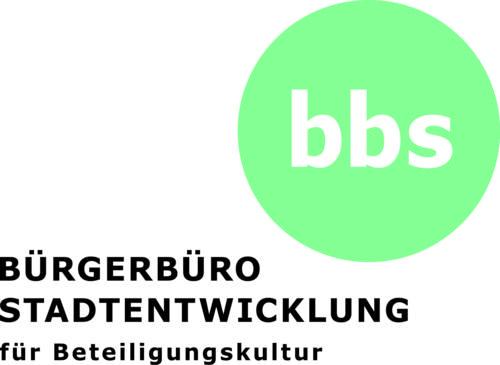 """Das Logo des Bürgerbüros Stadtentwicklung für Beteiligungskultur: Ein grüner Kreis mit den Buachstaben """"bbs"""" und darunter der Text."""