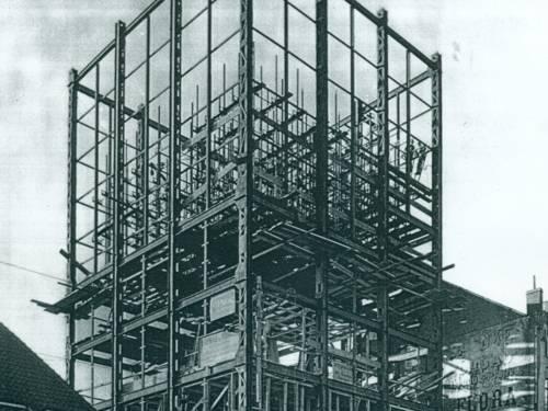 Stahlskelett der Stadtbibliothek 1930
