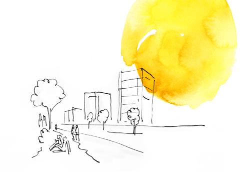Eine überwiegend weiße Zeichnung, die Menschen im Freien zeigt. Am Rand ein gelber Tuscheklecks.