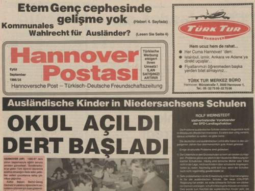 """Ausschnitt aus """"Hannoversche Post - Türkisch-Deutsche Freundschaftszeitung"""""""