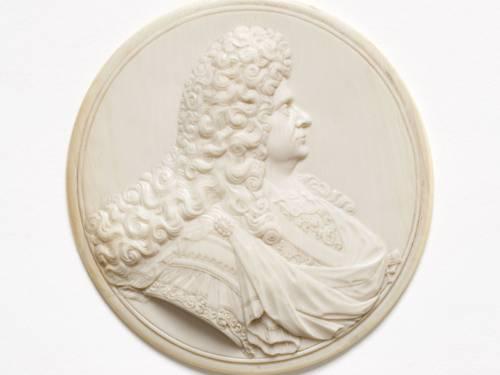 Medaillon August des Starken, Elfenbein, Jean Cavalier (?), E. 17. Jh.