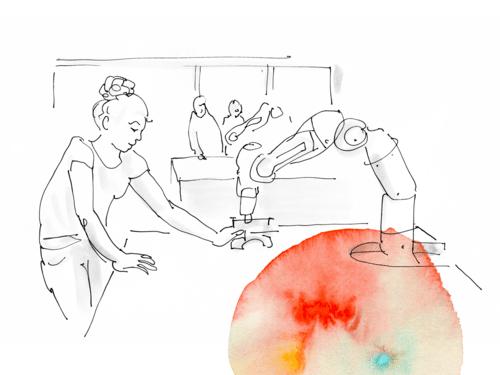 Eine weiße Zeichnung, die eine Frau an einer Maschine zeigt. Am Rand etwas rote Farbe.