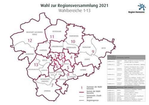 Schemakarte der Region Hannover mit den eingezeichneten Wahlbereichen