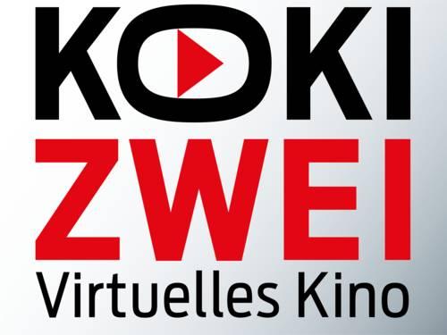 Das KokiZwei-Logo besteht aus einem Schriftzug: Koki in schwarzen Großbuchstaben, Zwei in roten Großbuchstaben und darunter in schwarz virtuelles Kino. Im in die Breite gezogenen O in Koki ist ein rotes Dreieck.