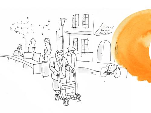 Eine in weiß gehaltene Zeichnung, die ältere Menschen zeigt. An der Seite orangene Farbkleckse.