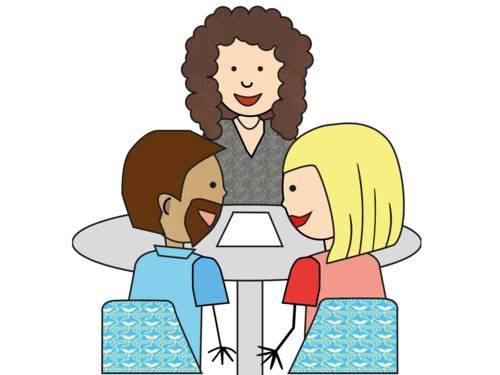Zeichnung: Eine Frau sitzt mit einem Elternpaar an einem Tisch.
