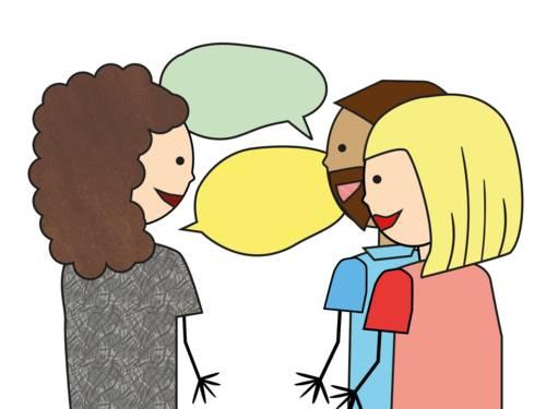 Zeichnung: Eine Frau spricht mit einem Elternpaar.