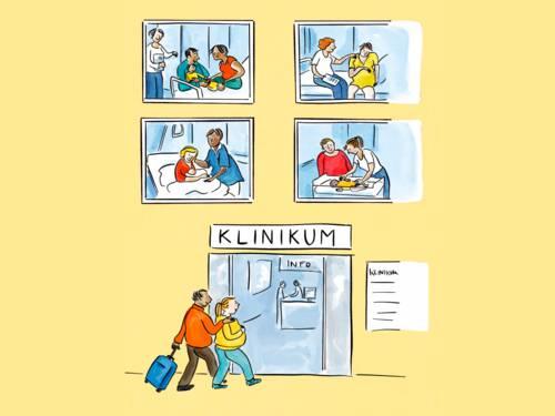 """Zeichnung: Ein Mann zieht einen Rollkoffer und begleitet eine Schwangere in ein gelbes Gebäude über dessen Eingang """"Klinikum"""" steht. In den vier Fenstern über dem Eingang sind weitere Situationen mit Schwangeren oder Neugeborenen."""