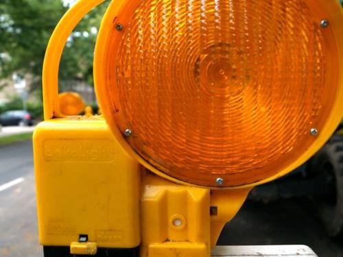 Baustellenlampe in der Nahaufnahme
