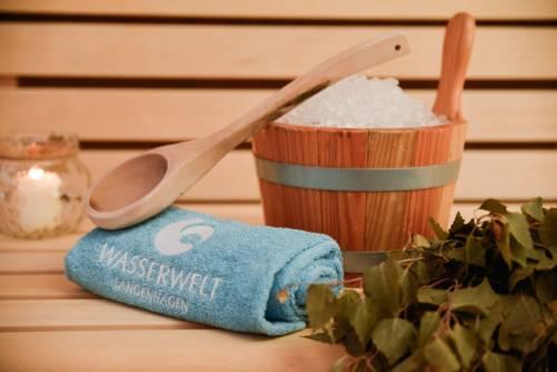 Holzeimer gefüllt mit Eis, Holzschöpfkelle, Handtuch