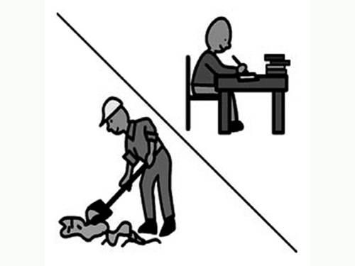 Zeichnung von zwei Arbeitskräfte - ein Bauarbeiter und einer Person an einem Schreibtisch.