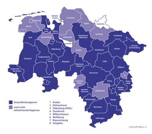 schematische Karte von Niedersachsen