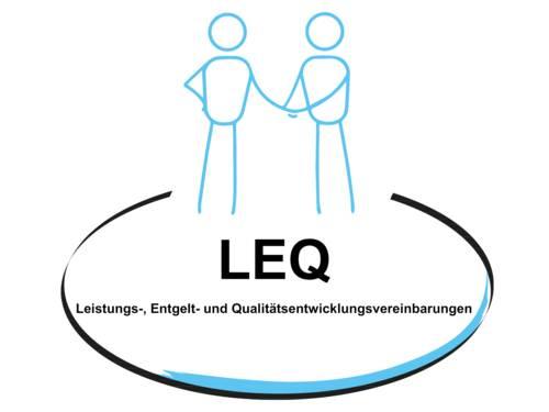 """Grafik: zwei Strichpersonen reichen sich die Hände, darunter steht in einem Oval: """"LEQ. Leistungs-, Entgelt-, und Qualitätsentwicklungsvereinbarungen"""""""