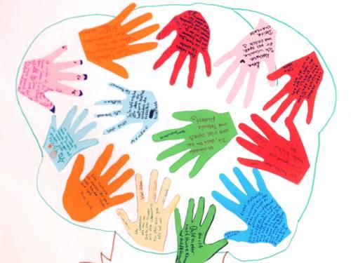 Bunte Hände, ausgeschniten auf Karton, bilden eine Collage. Die Hände sind beschriftet.
