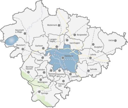 Karte der Kommunen der Region Hannover