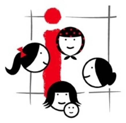 Logo aus gezeichneten Köpfen, einem Quadrat und einem roten i
