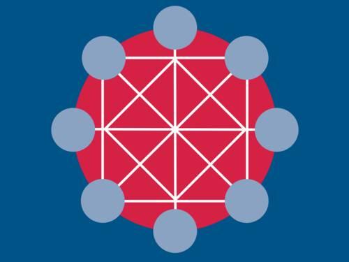 Logo mit dunkelblauem Hintergrund, einem roten Kreis in der Mitte, 8 kleineren, hellblauen Kreisen auf dem Rand des roten Kreises und weißen Linien, die die blauen Kreise miteinander verbinden.