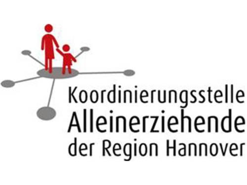 """Zwei rote Strichmenschen (eine Mutter mit ihrem Kind an der Hand) und der Schriftzug """"Koordinierungsstelle Alleinerziehende der Region Hannover"""""""