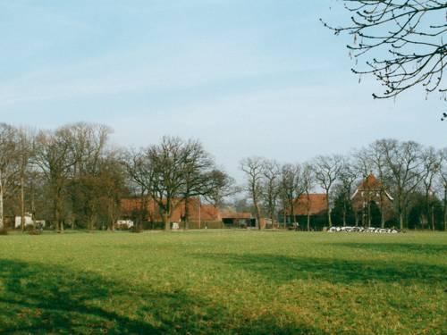 Blick über ein Feld in Richtung Bauernhöfe