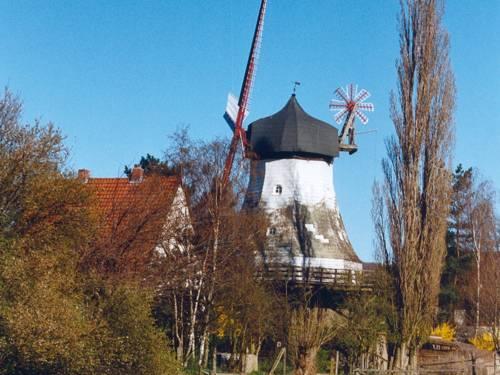 Weisse Windmühle vor blauem Himmel